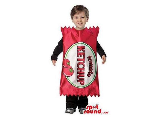 Ketchup Sauce Bag Children Size Costume With A Label