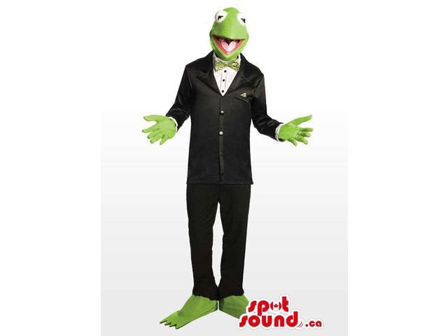 Tall Version Of Kermit Plush Canadian SpotSound Mascot Dressed In A Suit