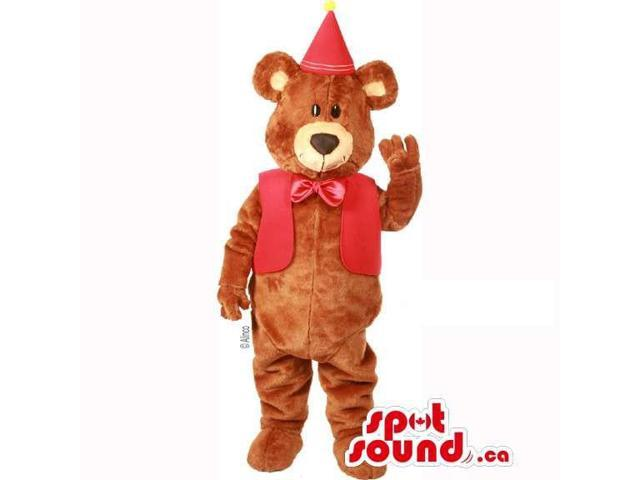 Customised Brown Teddy Bear Dressed In A Red Vest And Party Hat