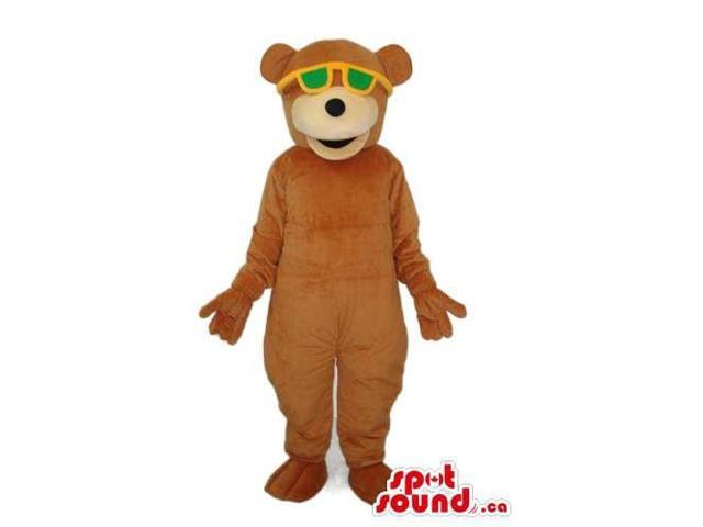 Customised Cute All Brown Bear Plush Canadian SpotSound Mascot With Sunglasses