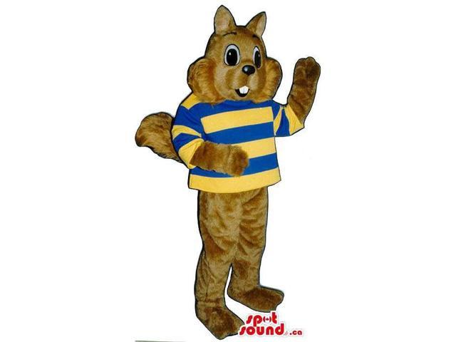 Brown Chipmunk Plush Animal Canadian SpotSound Mascot Dressed In Striped Shirt