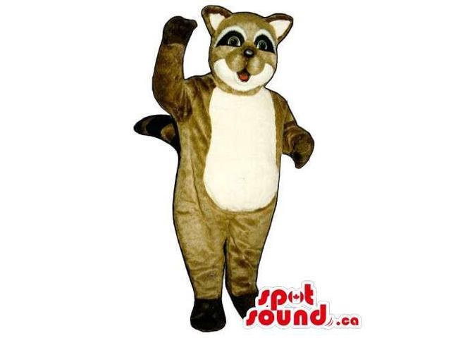 Customised Brown Raccoon Animal Canadian SpotSound Mascot With A White Belly