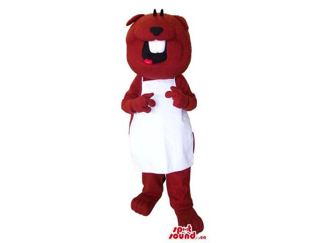 Customised Brown Beaver Canadian SpotSound Mascot Dressed In A White Apron