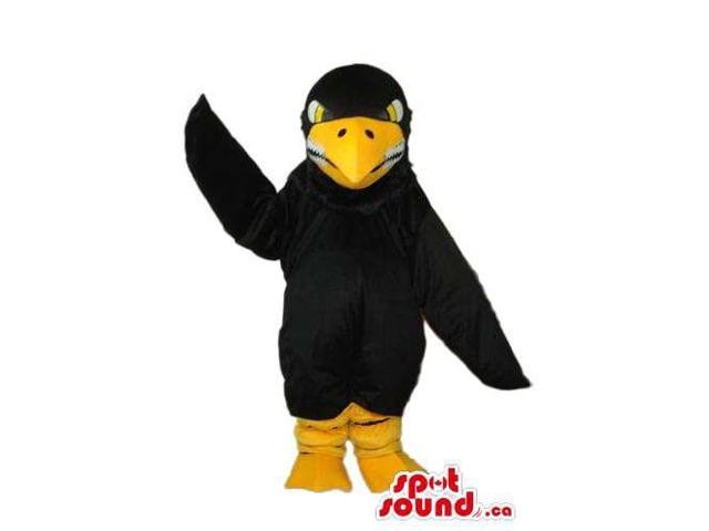 Angry Black Bird Plush Canadian SpotSound Mascot With Yellow Beak And Legs