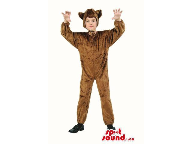 Cute Brown Dog Children Size Plush Halloween Costume