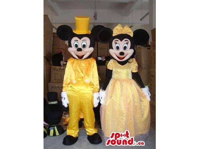 Mickey And Minnie Mouse Disney Characters Dressed In Yellow Gear