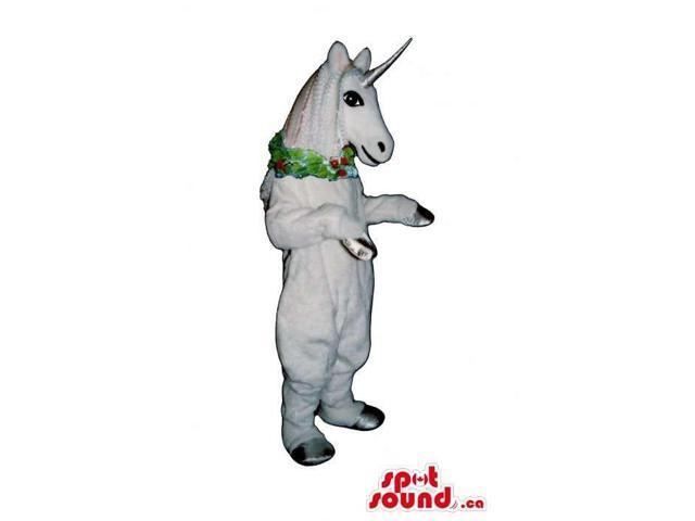 White Unicorn Canadian SpotSound Mascot With A Silver Horn And A Christmas Collar