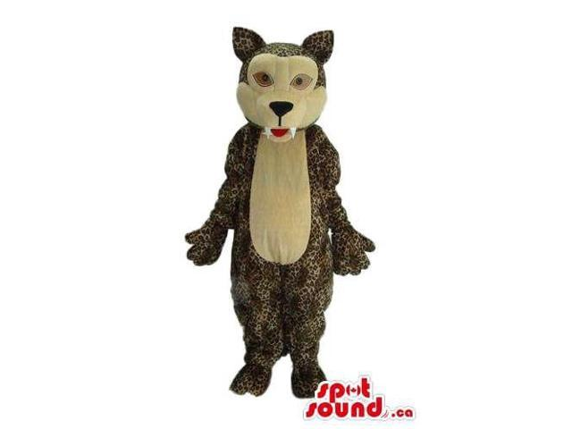 Patterned Brown Wolf Animal Plush Canadian SpotSound Mascot With Sharp Teeth