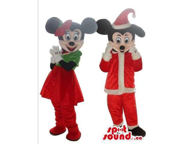 Mickey And Minnie Mouse Disney Canadian SpotSound Mascots Dressed In Christmas Gear