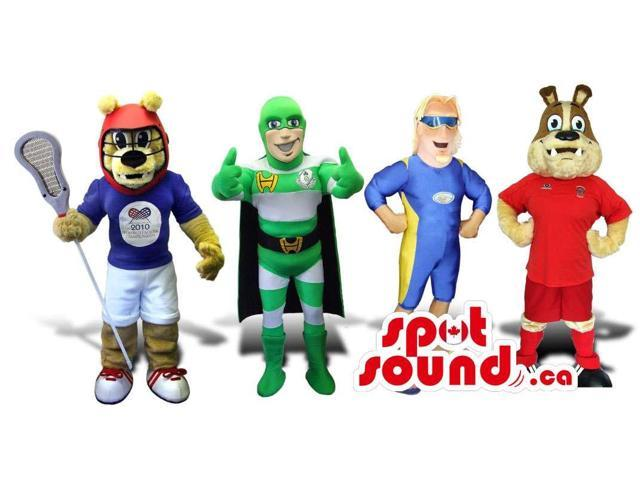 Group Of Four Cool Animal And Super Hero Plush Canadian SpotSound Mascots