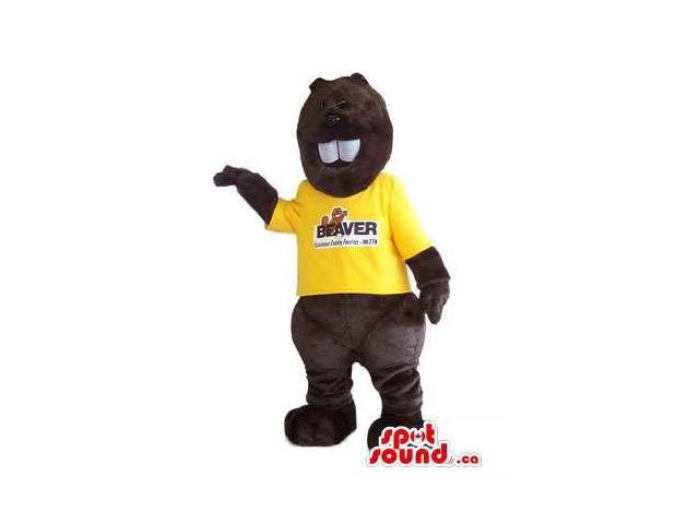 Customised Dark Brown Beaver Canadian SpotSound Mascot With Yellow T-Shirt
