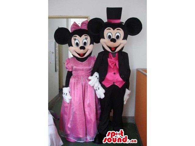 Mickey And Minnie Mouse Canadian SpotSound Mascots Dressed In Pink Elegant Gear