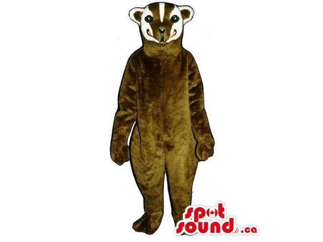 Customised Dark Brown Badger Canadian SpotSound Mascot With A Striped Head