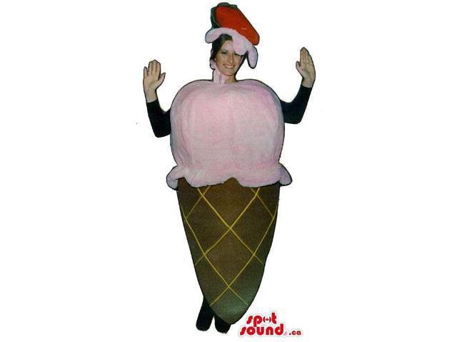 Cute Strawberry Ice-Cream Cone Adult Size Peculiar Costume