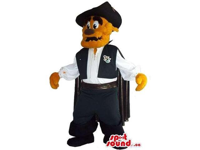 Brown Dog Plush Canadian SpotSound Mascot Dressed In El Zorro Clothes And A Logo