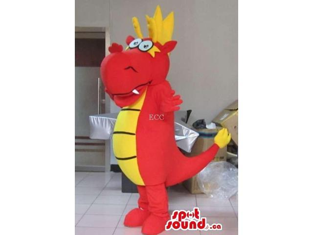 Fairy-Tale Red Dragon Canadian SpotSound Mascot With Yellow Belly And Comb