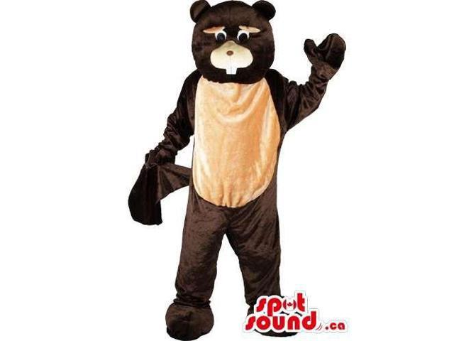 Customised All Dark Brown And Beige Beaver Canadian SpotSound Mascot