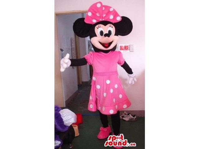 Minnie Mouse Disney Canadian SpotSound Mascot Dressed In A Pink Dress With Dots