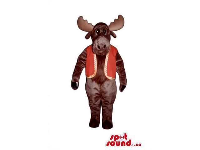 Brown Deer Animal Plush Canadian SpotSound Mascot Dressed In A Red And Golden Vest