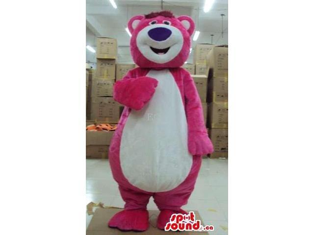 Customised Pink Plush Large Bear Canadian SpotSound Mascot With White Belly