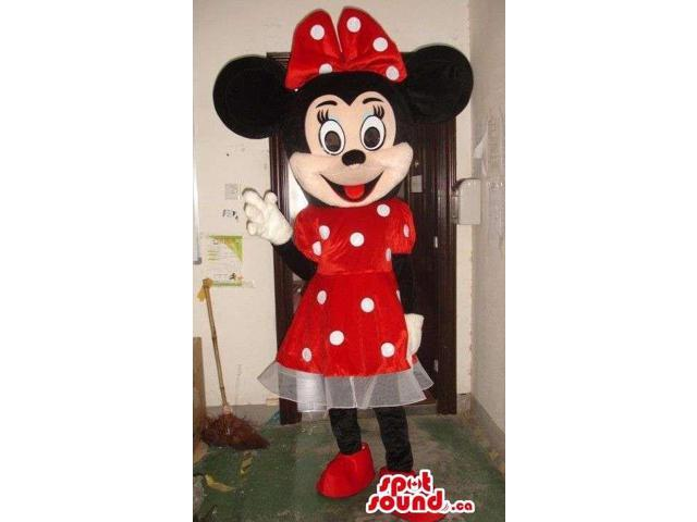 Minnie Mouse Disney Canadian SpotSound Mascot Dressed In A Red Dress With Dots
