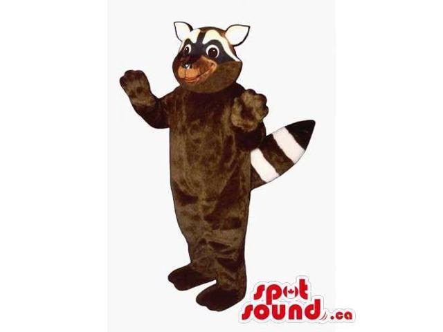 Customised Brown Raccoon Animal Canadian SpotSound Mascot With White Ears