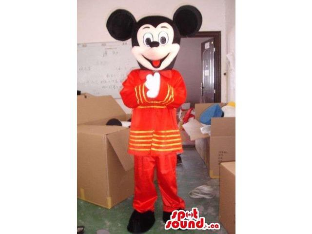 Mickey Mouse Disney Cartoon Character Dressed In Exotic Red Gear