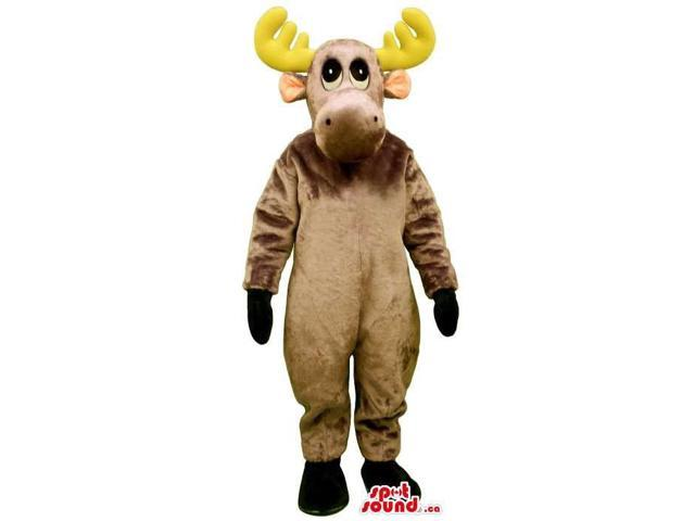 Brown Reindeer Animal Plush Canadian SpotSound Mascot With Large Yellow Horns