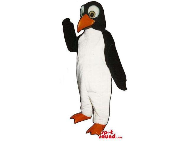 Black Penguin Canadian SpotSound Mascot With Yellow Eyes And White Eyebrows