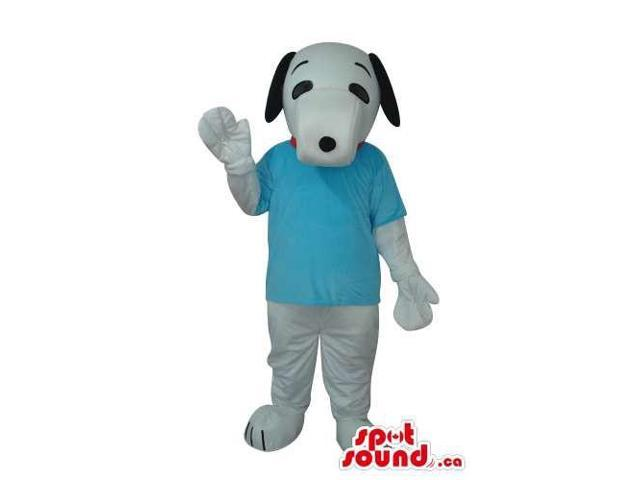 Lovely White Dog Pet Plush Canadian SpotSound Mascot With Blue T-Shirt