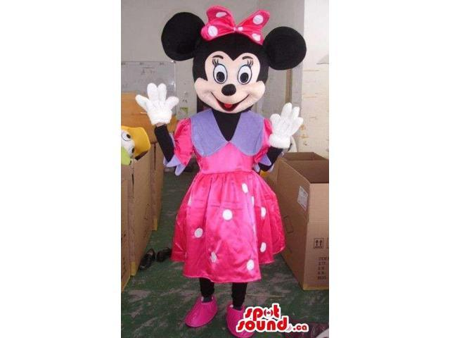 Minnie Mouse Disney Canadian SpotSound Mascot Dressed In A Pink And Purple Dress