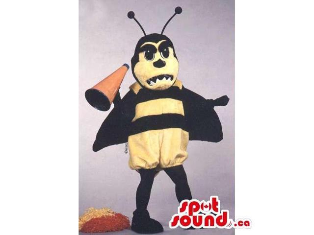Customised Yellow And Black Bee Canadian SpotSound Mascot With A Megaphone