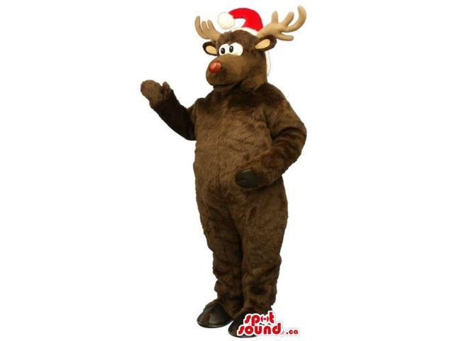 Brown Reindeer Animal Plush Canadian SpotSound Mascot With A Santa Claus Hat