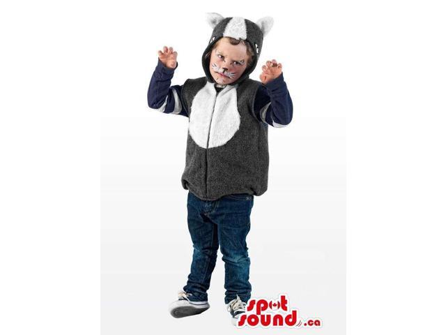Cute Cat Children Size Plush Half-Length Costume With A Hood