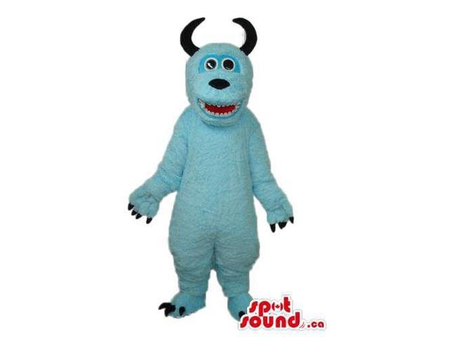 Light Blue Monster Plush Canadian SpotSound Mascot With Black Curved Horns