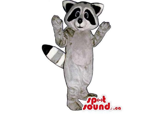 Customised Grey Raccoon Animal Canadian SpotSound Mascot With A Striped Tail