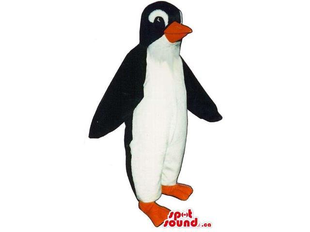 Very Lovely Black Penguin Canadian SpotSound Mascot With White Eyebrows