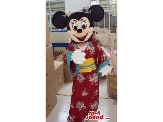 Minnie Mouse Disney Canadian SpotSound Mascot Dressed In A Japanese Kimono