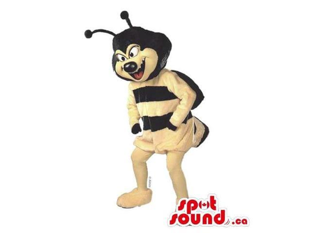 Customised Bee Canadian SpotSound Mascot With Black Antennae And Scary Face
