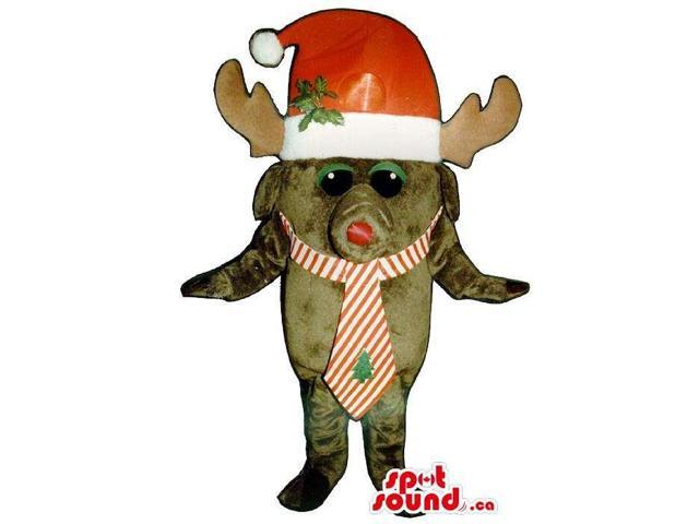 Small Brown Reindeer Animal Plush Canadian SpotSound Mascot With A Santa Claus Hat