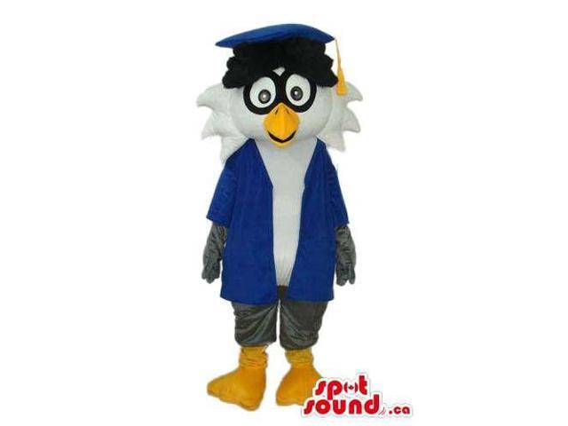 Grey And White Owl Plush Canadian SpotSound Mascot Dressed In Teacher Clothes