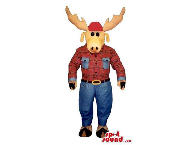Reindeer Animal Plush Canadian SpotSound Mascot Dressed In A Checked Shirt And Jeans