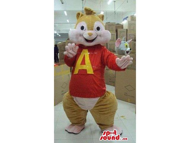 Alvin The Chipmunk Well-Known Movie Character Canadian SpotSound Mascot With T-Shirt