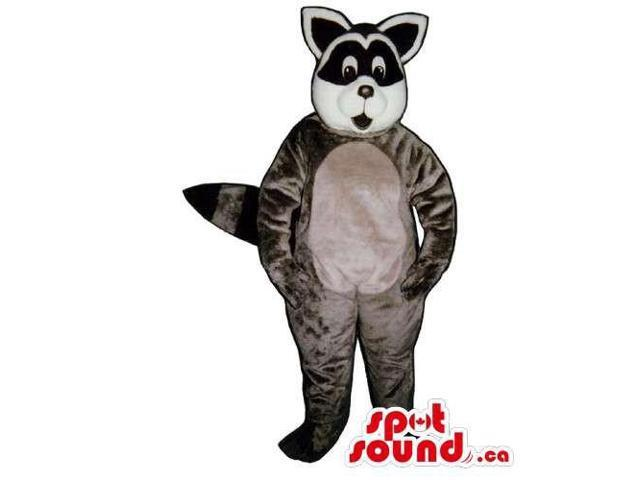 Customised Grey Raccoon Animal Canadian SpotSound Mascot With A Belly For Logos