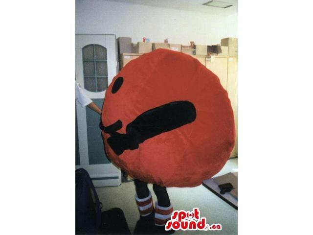 Great Large Red Round Ball Canadian SpotSound Mascot With A Smiley Face