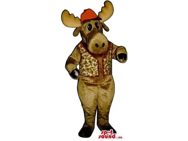Brown Reindeer Animal Plush Canadian SpotSound Mascot With A Vest And A Hat