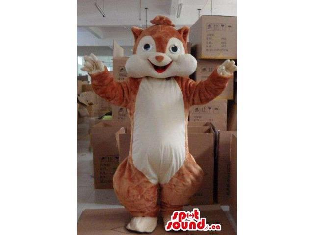 All Brown Chipmunk Plush Animal Canadian SpotSound Mascot With A Beige Belly