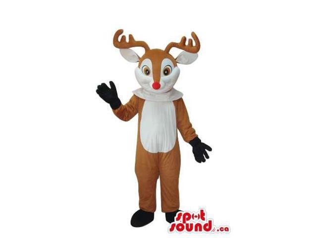 Brown Reindeer Animal Plush Canadian SpotSound Mascot With A White Belly