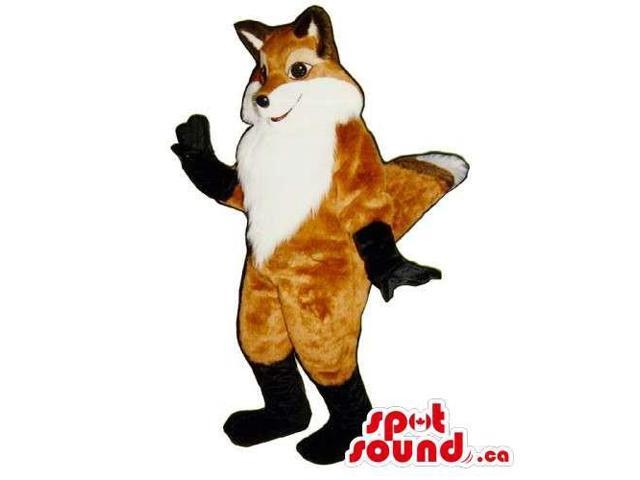Customised White And Brown Cute Fox Animal Canadian SpotSound Mascot