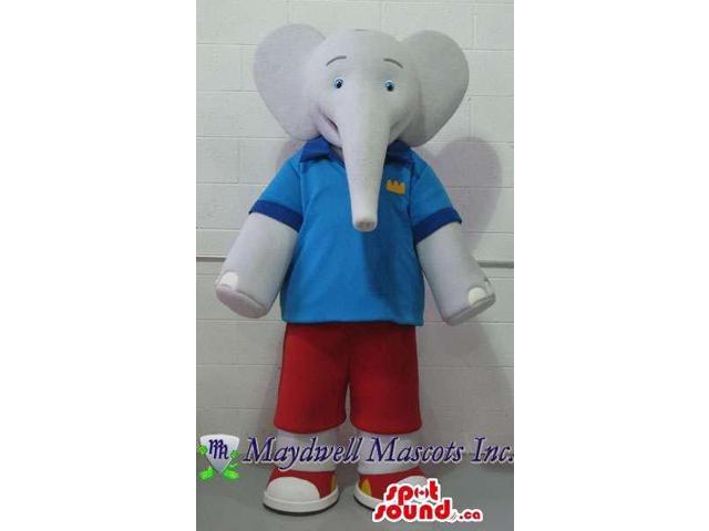 Cartoon Grey Elephant Plush Canadian SpotSound Mascot Dressed In Blue And Red Gear